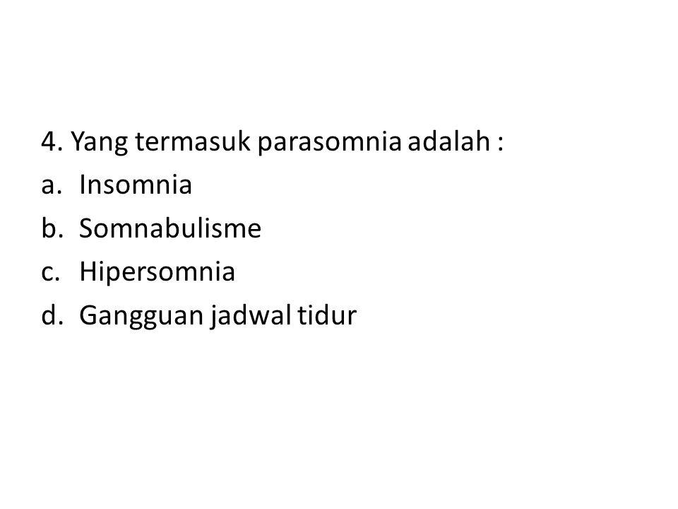 4. Yang termasuk parasomnia adalah : a.Insomnia b.Somnabulisme c.Hipersomnia d.Gangguan jadwal tidur