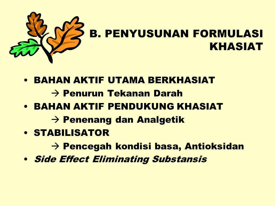 A. STUDI PUSTAKA EMPIRIS – Heyne, Kloppenburg, Cabe Puyang, Obat Asli Indonesia, Centini BUKU ACUAN – MMI, Acuan Sediaan Herbal, WHO Selected Med.Plan