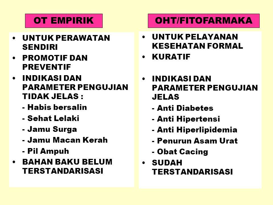 DEFINISI OT OBAT TRADISIONAL INDONESIA = JAMU OHT FITOFARMAKA
