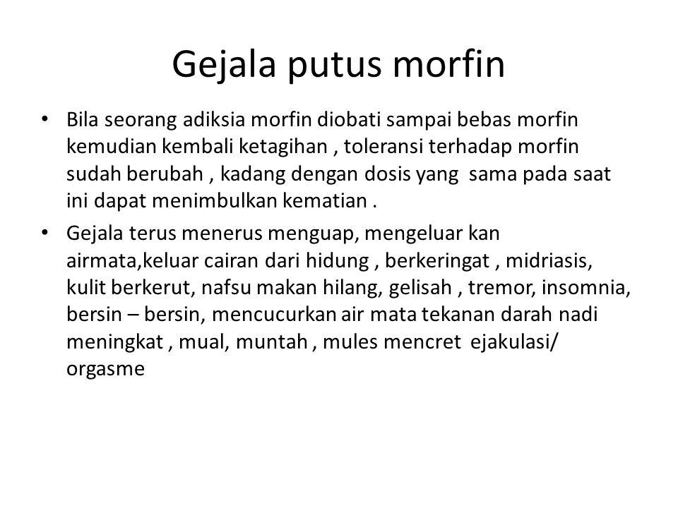 Gejala putus morfin Bila seorang adiksia morfin diobati sampai bebas morfin kemudian kembali ketagihan, toleransi terhadap morfin sudah berubah, kadang dengan dosis yang sama pada saat ini dapat menimbulkan kematian.