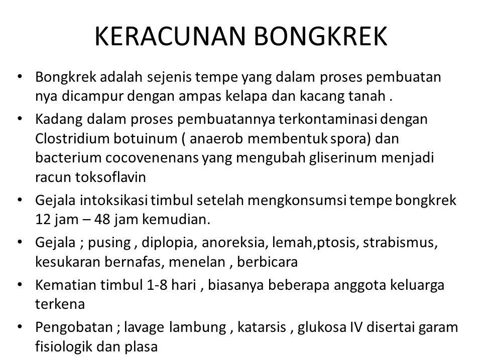 KERACUNAN BONGKREK Bongkrek adalah sejenis tempe yang dalam proses pembuatan nya dicampur dengan ampas kelapa dan kacang tanah.