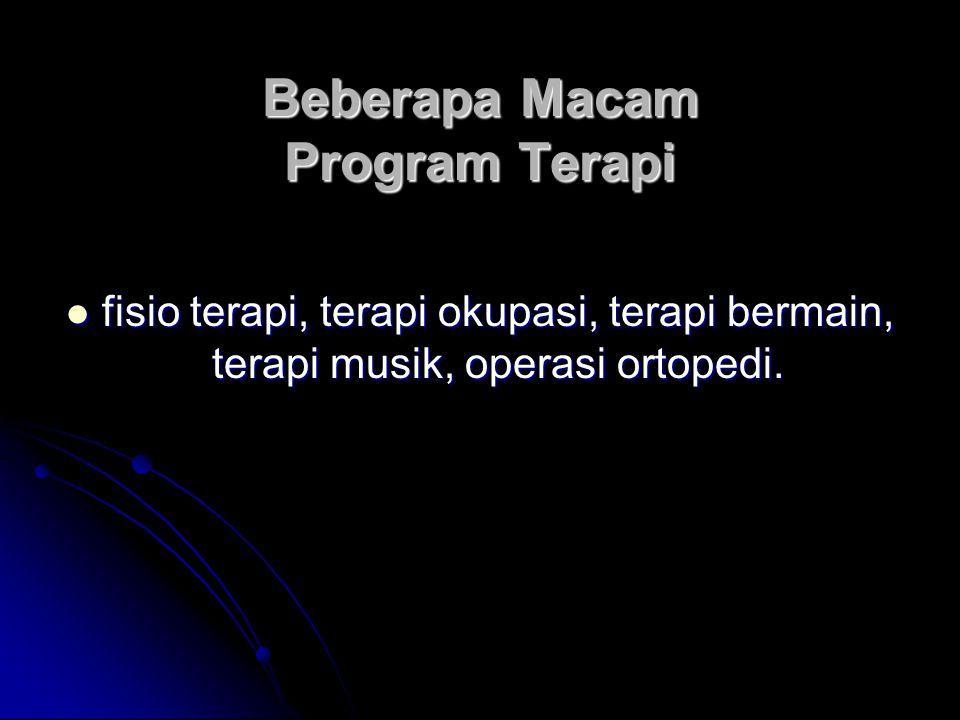 Beberapa Macam Program Terapi fisio terapi, terapi okupasi, terapi bermain, terapi musik, operasi ortopedi. fisio terapi, terapi okupasi, terapi berma