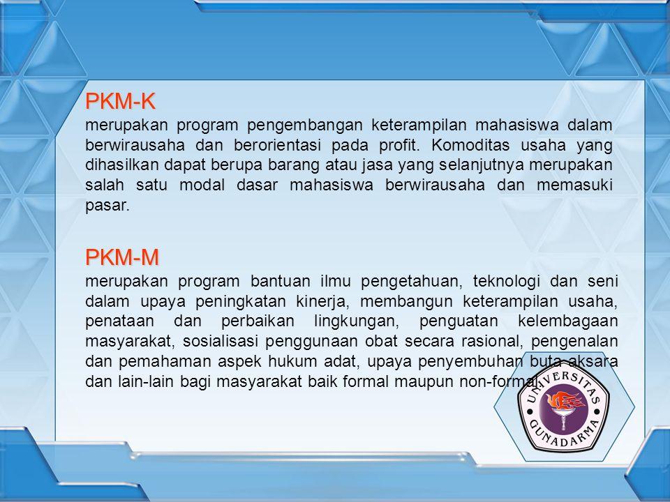 PKM-K merupakan program pengembangan keterampilan mahasiswa dalam berwirausaha dan berorientasi pada profit. Komoditas usaha yang dihasilkan dapat ber