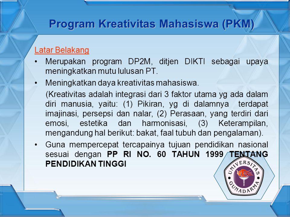 Program Kreativitas Mahasiswa (PKM) Latar Belakang Merupakan program DP2M, ditjen DIKTI sebagai upaya meningkatkan mutu lulusan PT. Meningkatkan daya