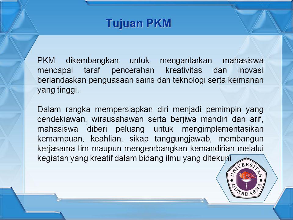 Jenis PKM 5 (lima) jenis kegiatan yang ditawarkan dalam PKM:  PKM - Penelitian (PKM-P),  PKM - Penerapan Teknologi (PKM-T),  PKM - Kewirausahaan (PKM-K), dan  PKM - Pengabdian kepada Masyarakat (PKM-M) dan  PKM - Penulisan Ilmiah (PKM-I) Sejak tahun 2009 ini jenis kegiatan PKM ditambah dengan:  PKM – Gagasan Tertulis (PKM-GT)