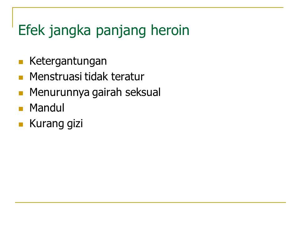 Heroin Klasifikasi : depresan Cara : dihisap, disuntik menghasilkan morfin, codein, heroin dipakai untuk menghilangkan rasa sakit Efek dari heroin  S