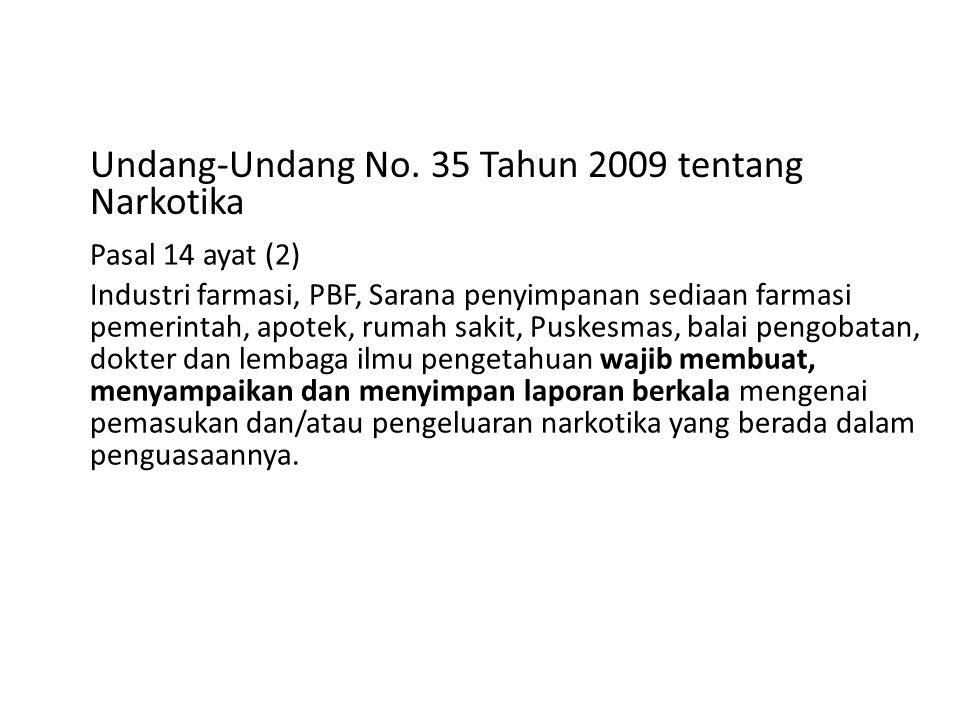 Undang-Undang No. 35 Tahun 2009 tentang Narkotika Pasal 14 ayat (2) Industri farmasi, PBF, Sarana penyimpanan sediaan farmasi pemerintah, apotek, ruma