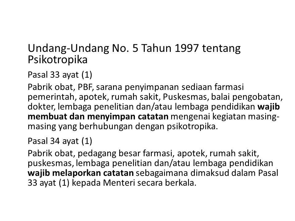 Undang-Undang No. 5 Tahun 1997 tentang Psikotropika Pasal 33 ayat (1) Pabrik obat, PBF, sarana penyimpanan sediaan farmasi pemerintah, apotek, rumah s