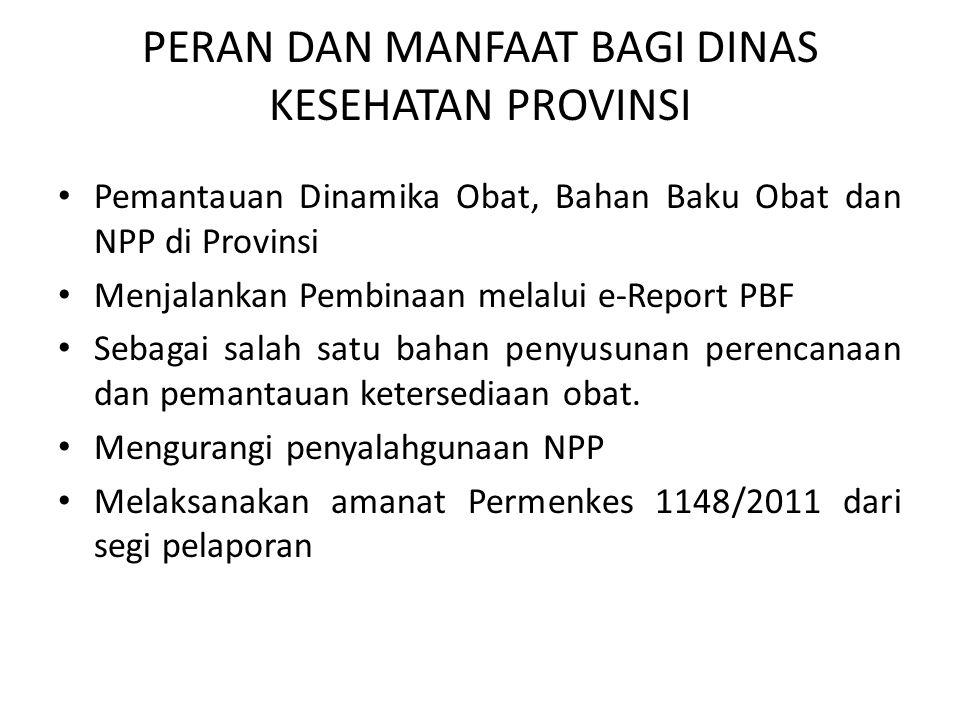 PERAN DAN MANFAAT BAGI DINAS KESEHATAN PROVINSI Pemantauan Dinamika Obat, Bahan Baku Obat dan NPP di Provinsi Menjalankan Pembinaan melalui e-Report P