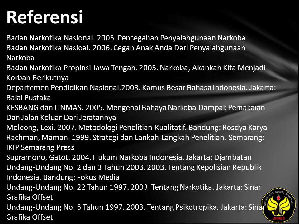 Referensi Badan Narkotika Nasional. 2005.