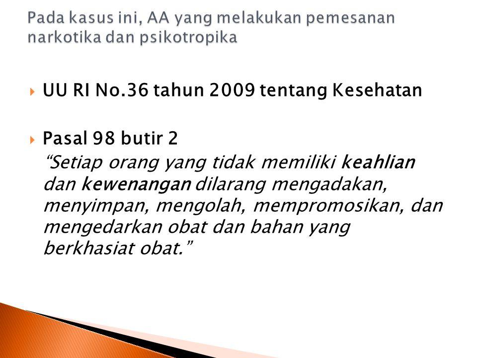  UU RI No.36 tahun 2009 tentang Kesehatan  Pasal 98 butir 2 Setiap orang yang tidak memiliki keahlian dan kewenangan dilarang mengadakan, menyimpan, mengolah, mempromosikan, dan mengedarkan obat dan bahan yang berkhasiat obat.