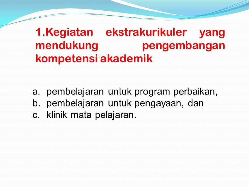 1.Kegiatan ekstrakurikuler yang mendukung pengembangan kompetensi akademik a. pembelajaran untuk program perbaikan, b. pembelajaran untuk pengayaan, d