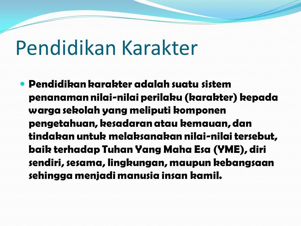 Pendidikan Karakter Pendidikan karakter adalah suatu sistem penanaman nilai-nilai perilaku (karakter) kepada warga sekolah yang meliputi komponen peng