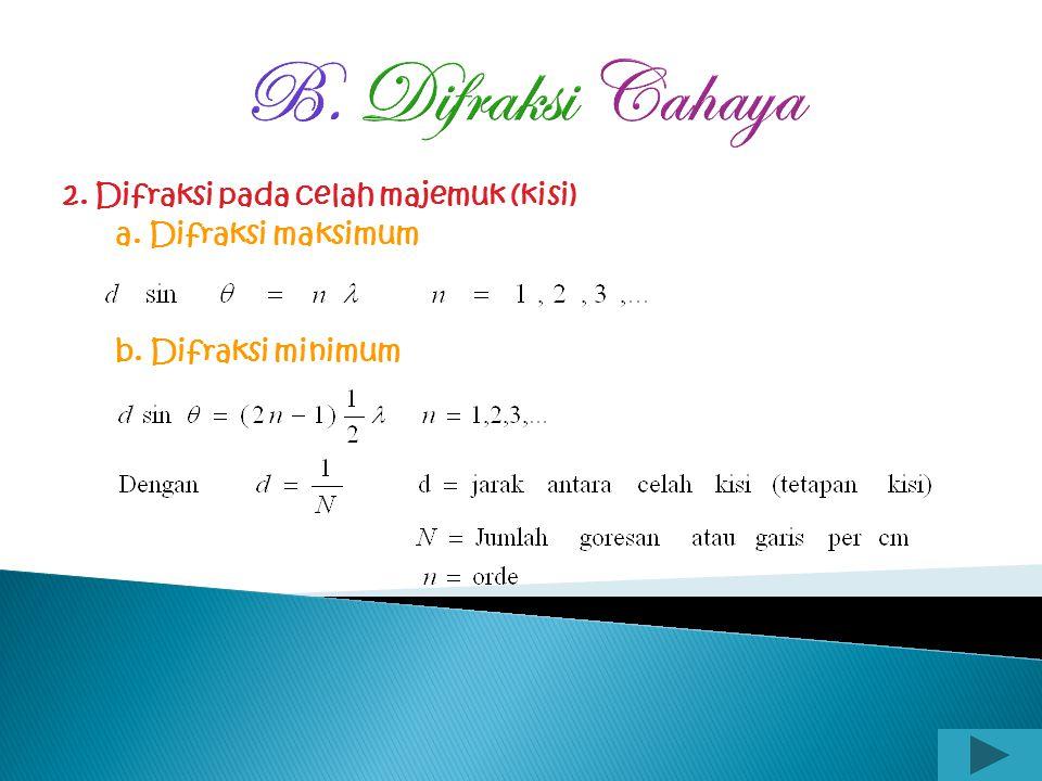 B. Difraksi Cahaya 1. Difraksi pada celah tunggal a. Garis gelap ke-n terjadi jika : b. Garis terang ke-n terjadi jika :