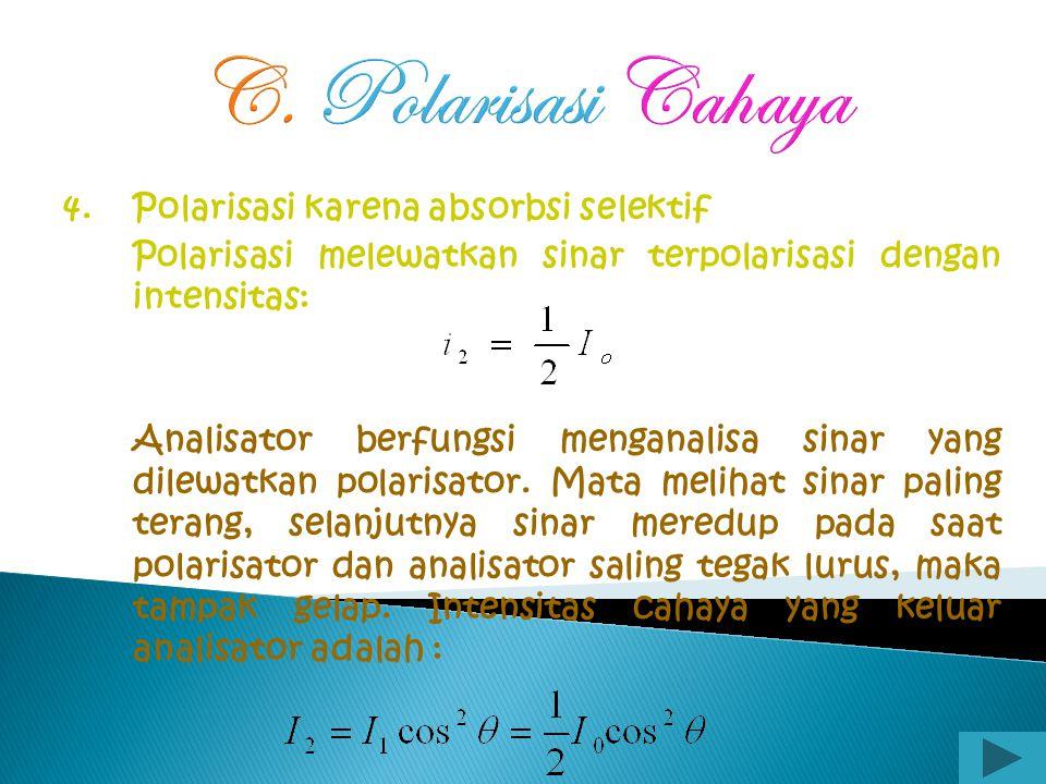 C. Polarisasi Cahaya 3. Polarisasi karena pembiasan ganda (bias kembar) Jika cahaya melalui kaca, maka cahaya lewat dengan kelajuan yang sama ke segal