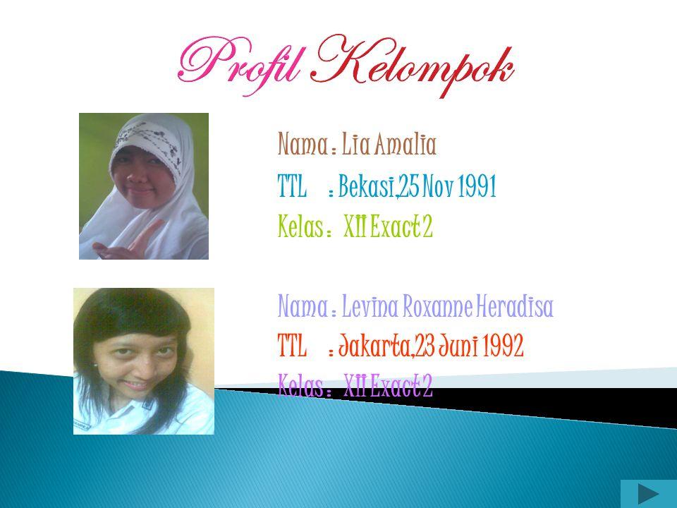 Profil Kelompok Nama : Dita septi anggraeni TTL : Bekasi,28 Sept 1991 Kelas : XII Exact 2 Nama : Ika kristin triwulandari TTL : Jakarta,27 Agust 1991