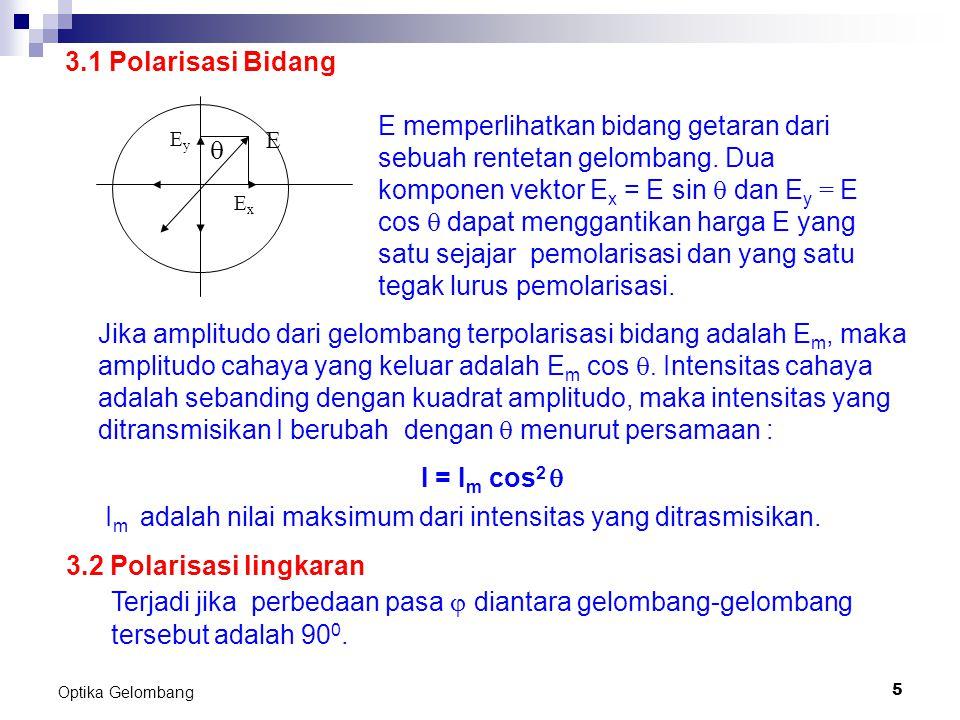 5 Optika Gelombang 3.1 Polarisasi Bidang E ExEx EyEy  E memperlihatkan bidang getaran dari sebuah rentetan gelombang.