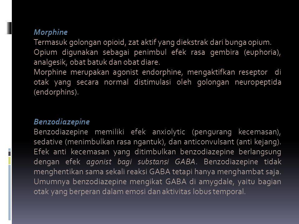 Morphine Termasuk golongan opioid, zat aktif yang diekstrak dari bunga opium. Opium digunakan sebagai penimbul efek rasa gembira (euphoria), analgesik