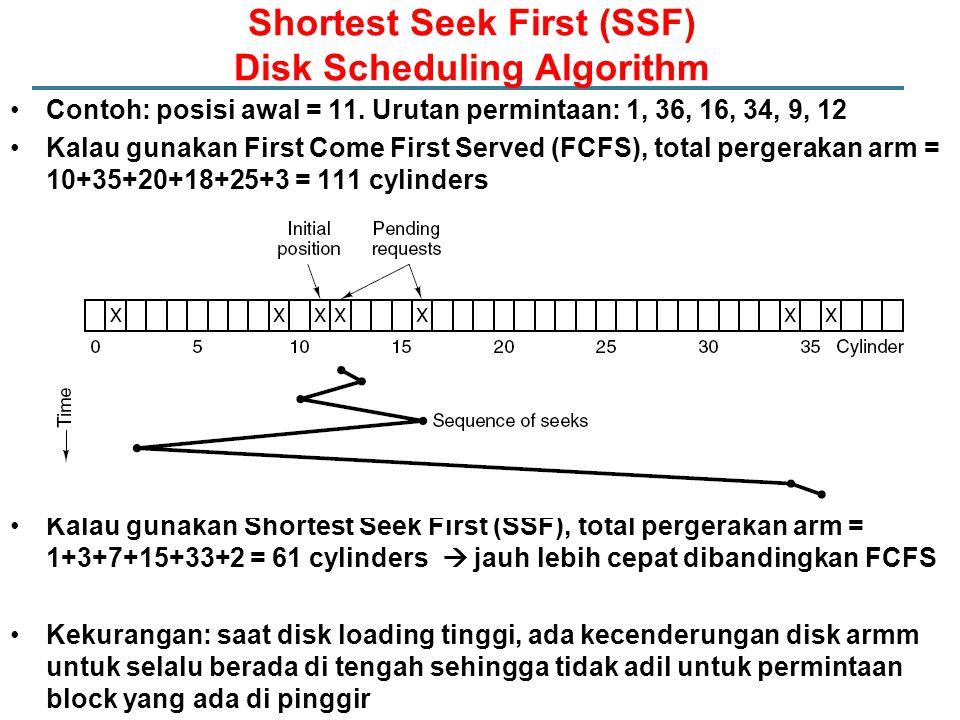 Contoh: posisi awal = 11. Urutan permintaan: 1, 36, 16, 34, 9, 12 Kalau gunakan First Come First Served (FCFS), total pergerakan arm = 10+35+20+18+25+