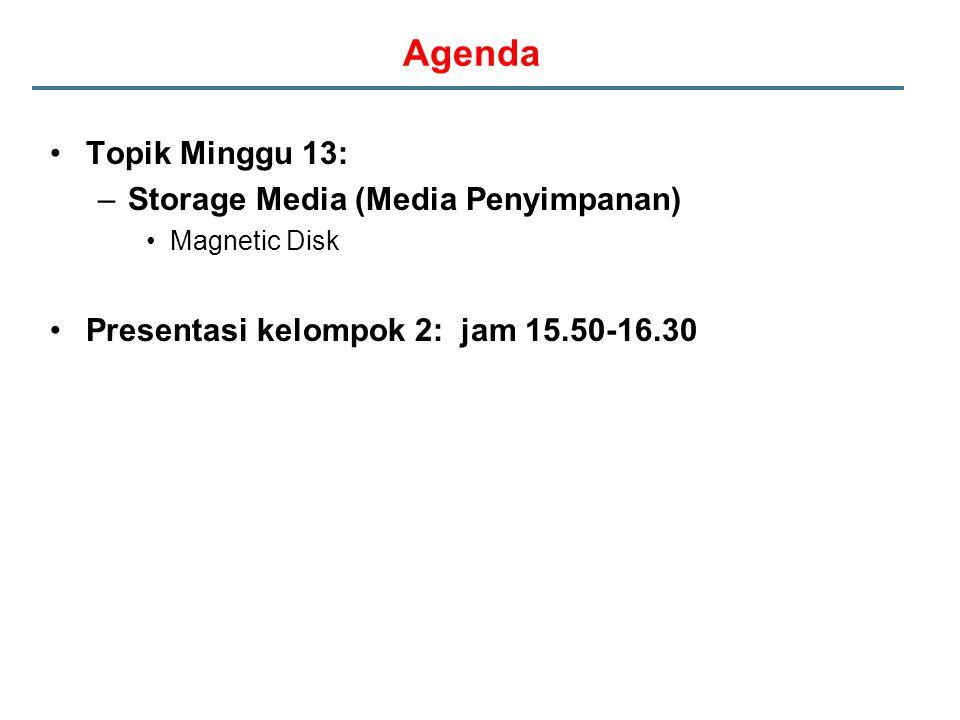 Agenda Topik Minggu 13: –Storage Media (Media Penyimpanan) Magnetic Disk Presentasi kelompok 2: jam 15.50-16.30