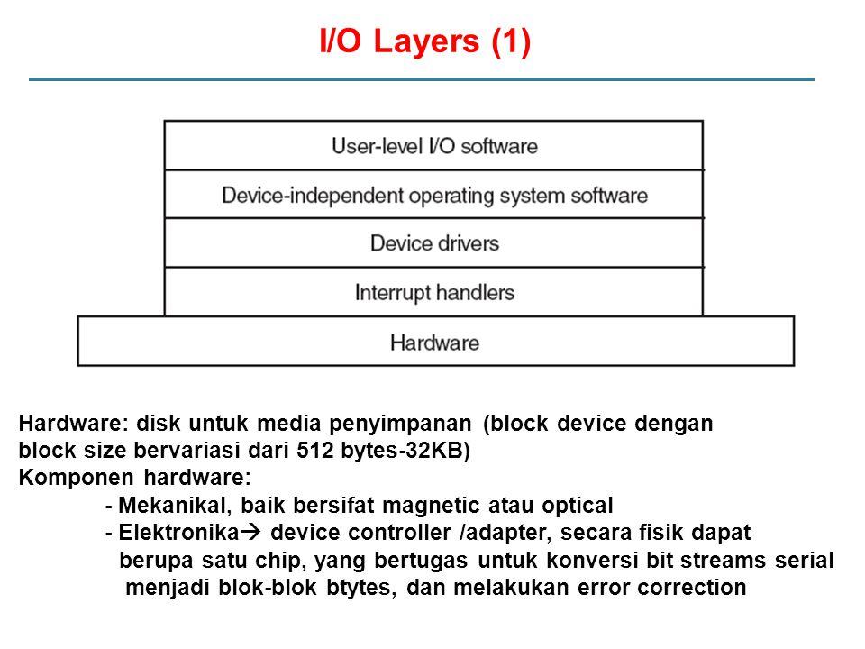 I/O Layers (1) Hardware: disk untuk media penyimpanan (block device dengan block size bervariasi dari 512 bytes-32KB) Komponen hardware: - Mekanikal,