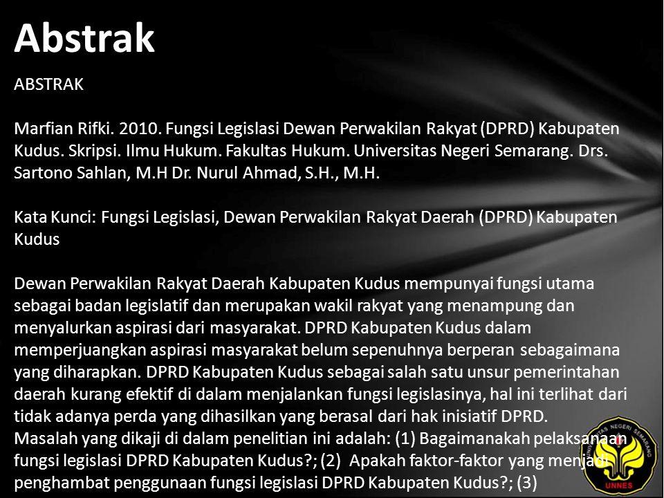 Abstrak ABSTRAK Marfian Rifki. 2010.