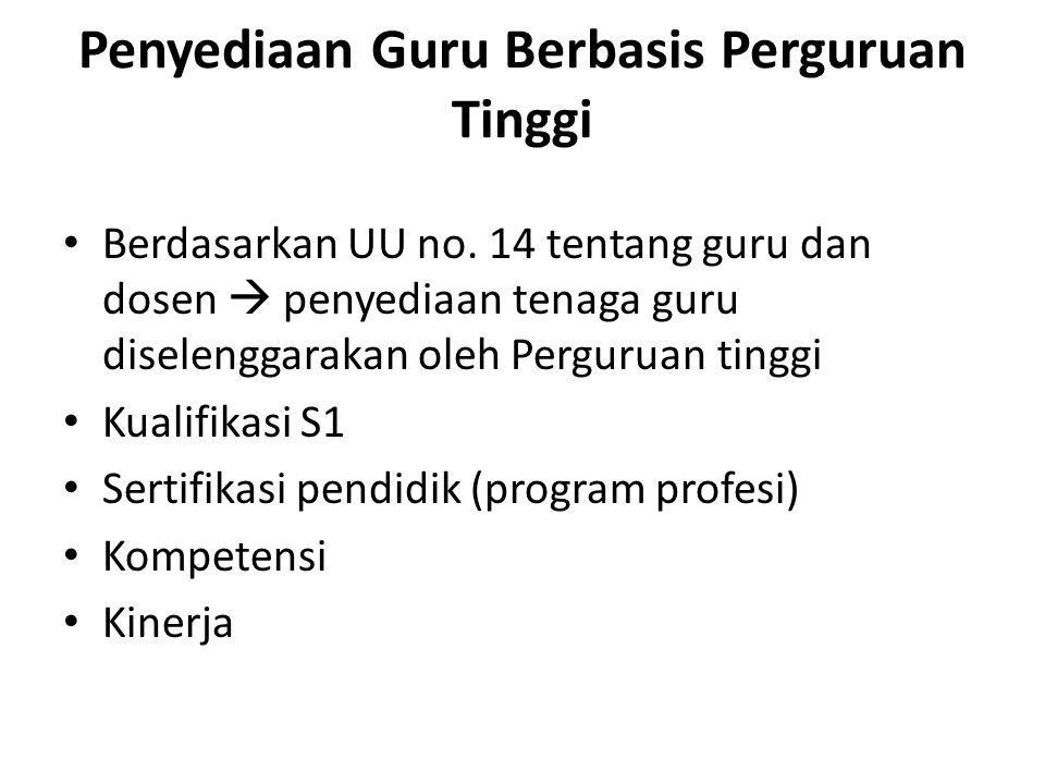 Penyediaan Guru Berbasis Perguruan Tinggi Berdasarkan UU no.