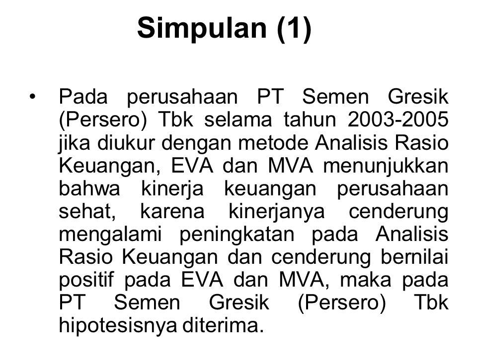Simpulan (1) Pada perusahaan PT Semen Gresik (Persero) Tbk selama tahun 2003-2005 jika diukur dengan metode Analisis Rasio Keuangan, EVA dan MVA menun