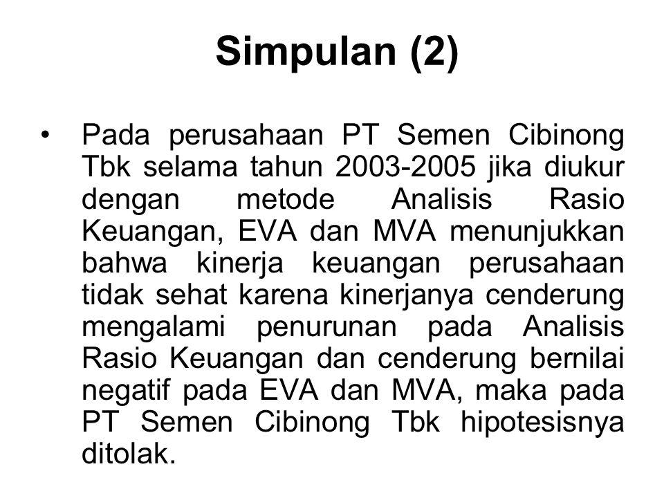Simpulan (2) Pada perusahaan PT Semen Cibinong Tbk selama tahun 2003-2005 jika diukur dengan metode Analisis Rasio Keuangan, EVA dan MVA menunjukkan b
