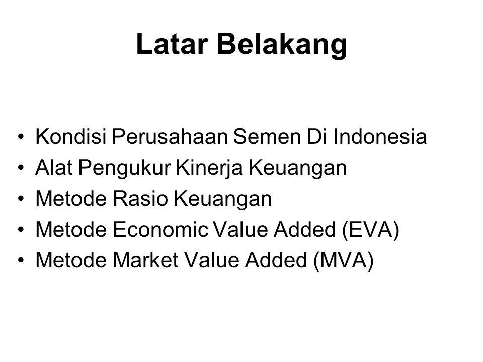Latar Belakang Kondisi Perusahaan Semen Di Indonesia Alat Pengukur Kinerja Keuangan Metode Rasio Keuangan Metode Economic Value Added (EVA) Metode Mar