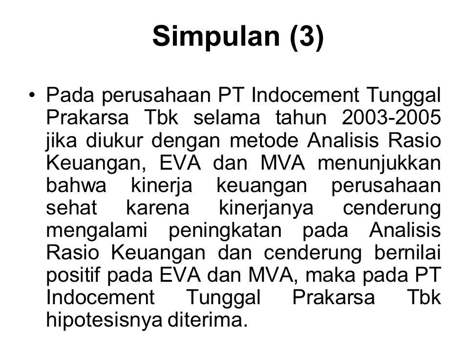 Simpulan (3) Pada perusahaan PT Indocement Tunggal Prakarsa Tbk selama tahun 2003-2005 jika diukur dengan metode Analisis Rasio Keuangan, EVA dan MVA