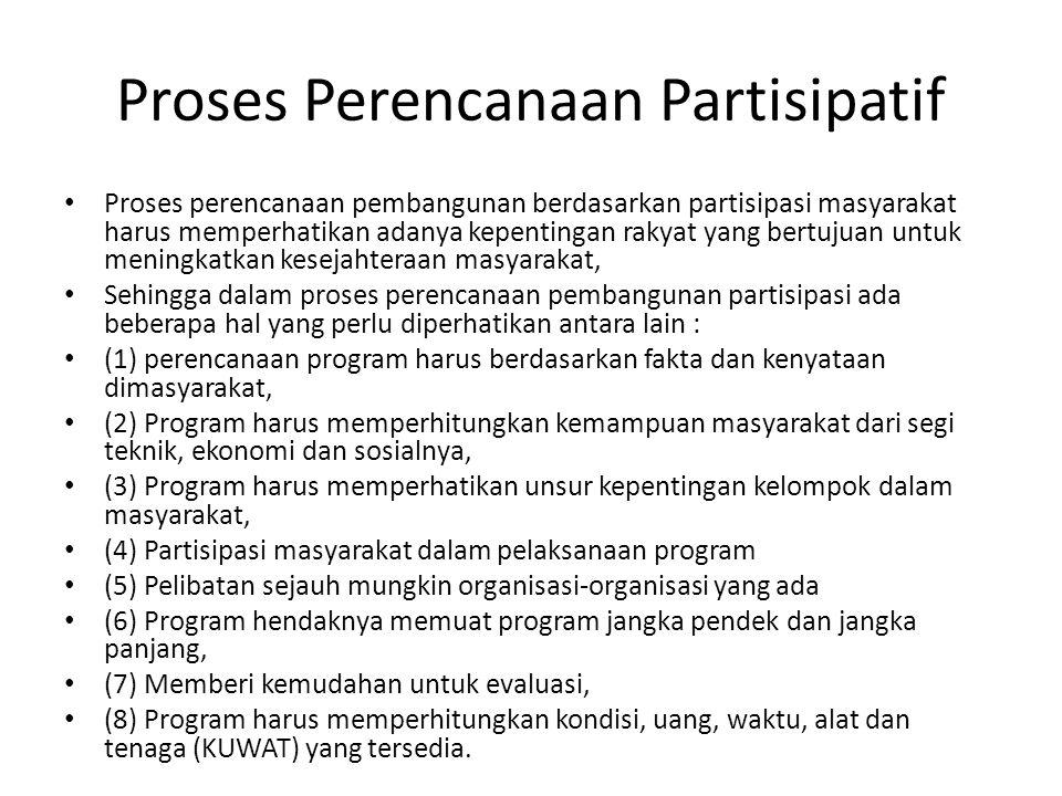 Proses Perencanaan Partisipatif Proses perencanaan pembangunan berdasarkan partisipasi masyarakat harus memperhatikan adanya kepentingan rakyat yang b
