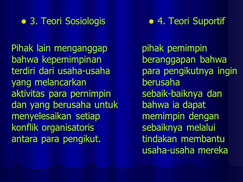 3. Teori Sosiologis 3. Teori Sosiologis Pihak lain menganggap bahwa kepemimpinan terdiri dari usaha-usaha yang melancarkan aktivitas para pernimpin da