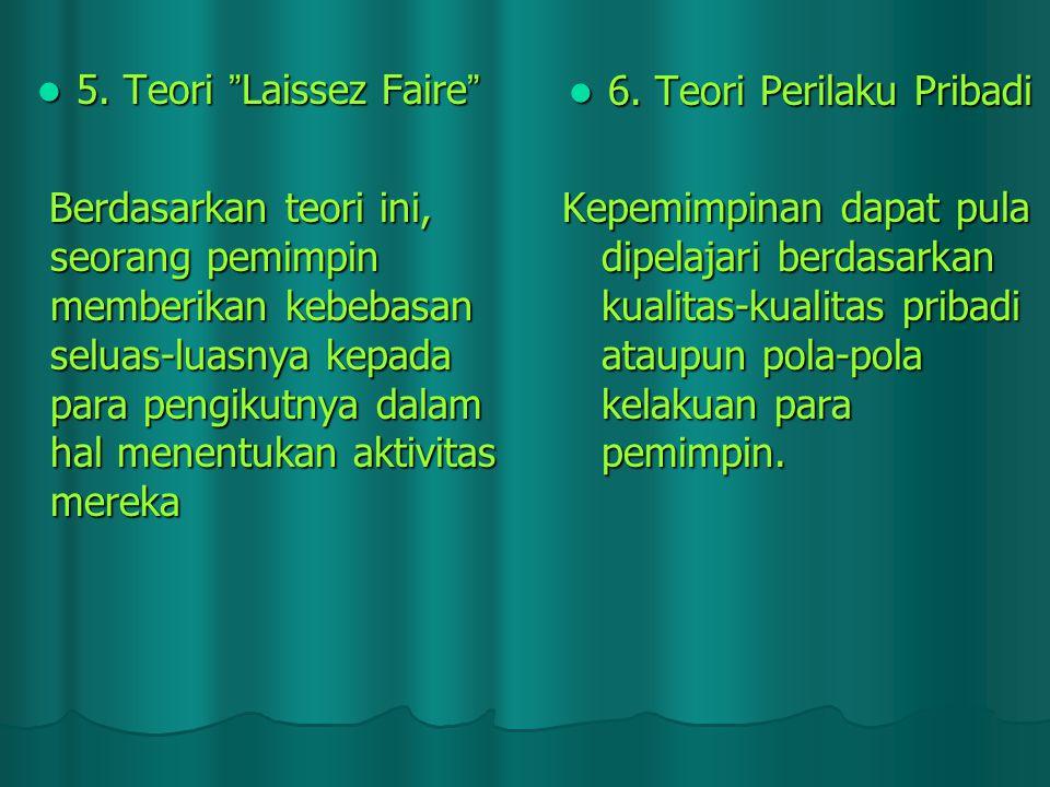 """5. Teori """" Laissez Faire """" 5. Teori """" Laissez Faire """" Berdasarkan teori ini, seorang pemimpin memberikan kebebasan seluas ‑ luasnya kepada para pengik"""