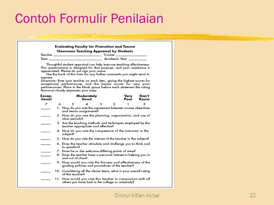 Dinnul Alfian Akbar22 Contoh Formulir Penilaian
