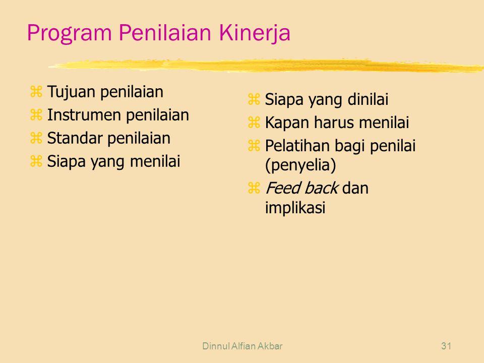 Dinnul Alfian Akbar31 Program Penilaian Kinerja zTujuan penilaian zInstrumen penilaian zStandar penilaian zSiapa yang menilai zSiapa yang dinilai zKapan harus menilai zPelatihan bagi penilai (penyelia) zFeed back dan implikasi