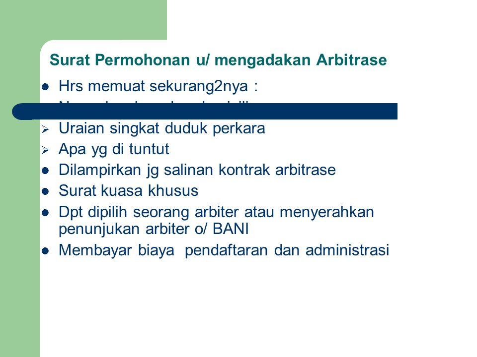 Prosedur yg menyimpang dari BANI Bani akan menggunakan peraturan prosedur BANI dlm memeriksa perkaranya.