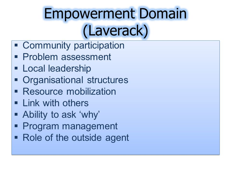  Community participation  Problem assessment  Local leadership  Organisational structures  Resource mobilization  Link with others  Ability to ask 'why'  Program management  Role of the outside agent  Community participation  Problem assessment  Local leadership  Organisational structures  Resource mobilization  Link with others  Ability to ask 'why'  Program management  Role of the outside agent