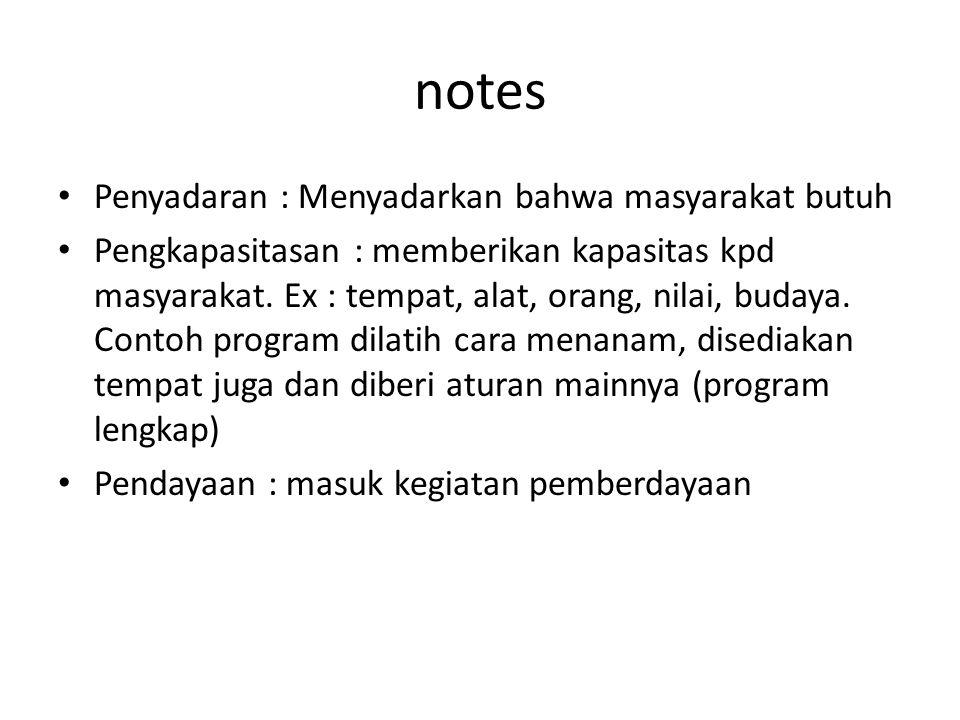 notes Penyadaran : Menyadarkan bahwa masyarakat butuh Pengkapasitasan : memberikan kapasitas kpd masyarakat.