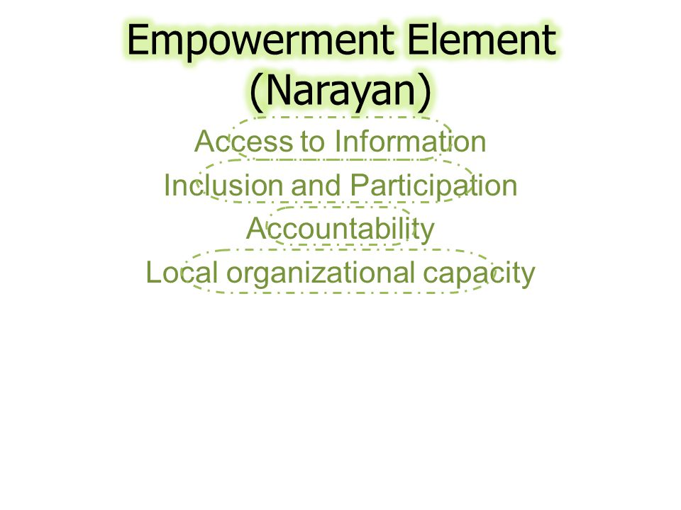 Access to Information Inclusion and Participation Accountability Local organizational capacity