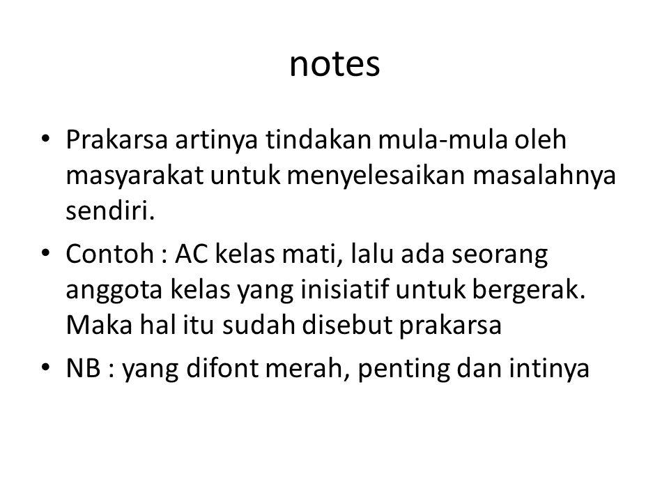 notes Prakarsa artinya tindakan mula-mula oleh masyarakat untuk menyelesaikan masalahnya sendiri.