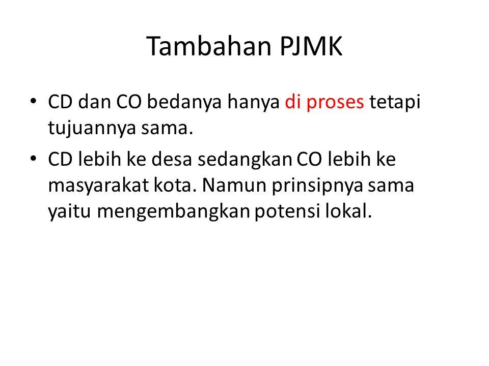 Tambahan PJMK CD dan CO bedanya hanya di proses tetapi tujuannya sama.