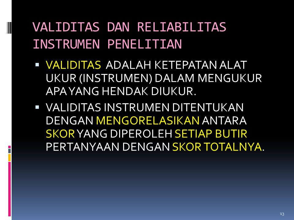 VALIDITAS DAN RELIABILITAS INSTRUMEN PENELITIAN  VALIDITAS ADALAH KETEPATAN ALAT UKUR (INSTRUMEN) DALAM MENGUKUR APA YANG HENDAK DIUKUR.  VALIDITAS