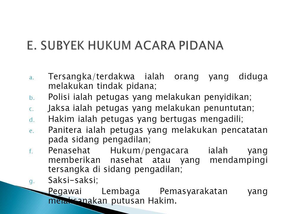 a. Tersangka/terdakwa ialah orang yang diduga melakukan tindak pidana; b. Polisi ialah petugas yang melakukan penyidikan; c. Jaksa ialah petugas yang