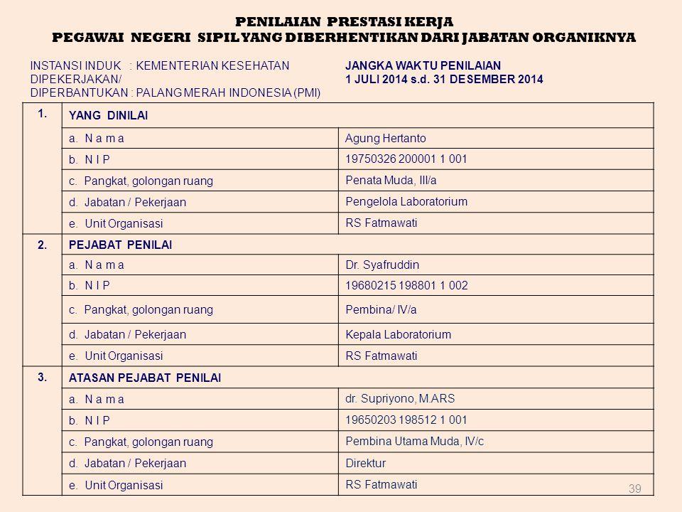 39 PENILAIAN PRESTASI KERJA PEGAWAI NEGERI SIPIL YANG DIBERHENTIKAN DARI JABATAN ORGANIKNYA INSTANSI INDUK : KEMENTERIAN KESEHATAN DIPEKERJAKAN/ DIPER