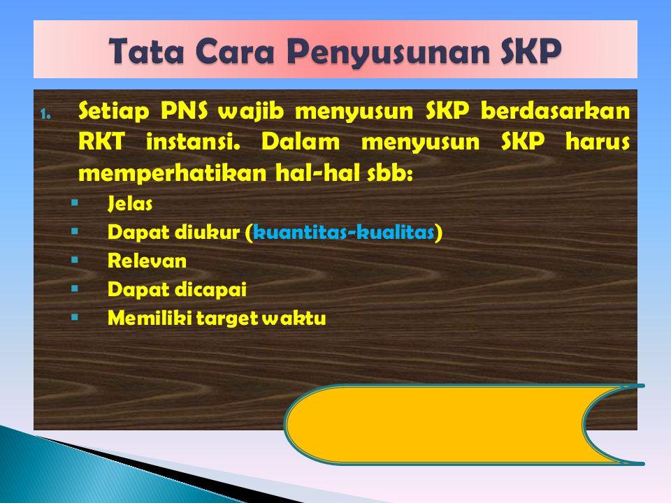 1. Setiap PNS wajib menyusun SKP berdasarkan RKT instansi. Dalam menyusun SKP harus memperhatikan hal-hal sbb:  Jelas  Dapat diukur (kuantitas-kuali