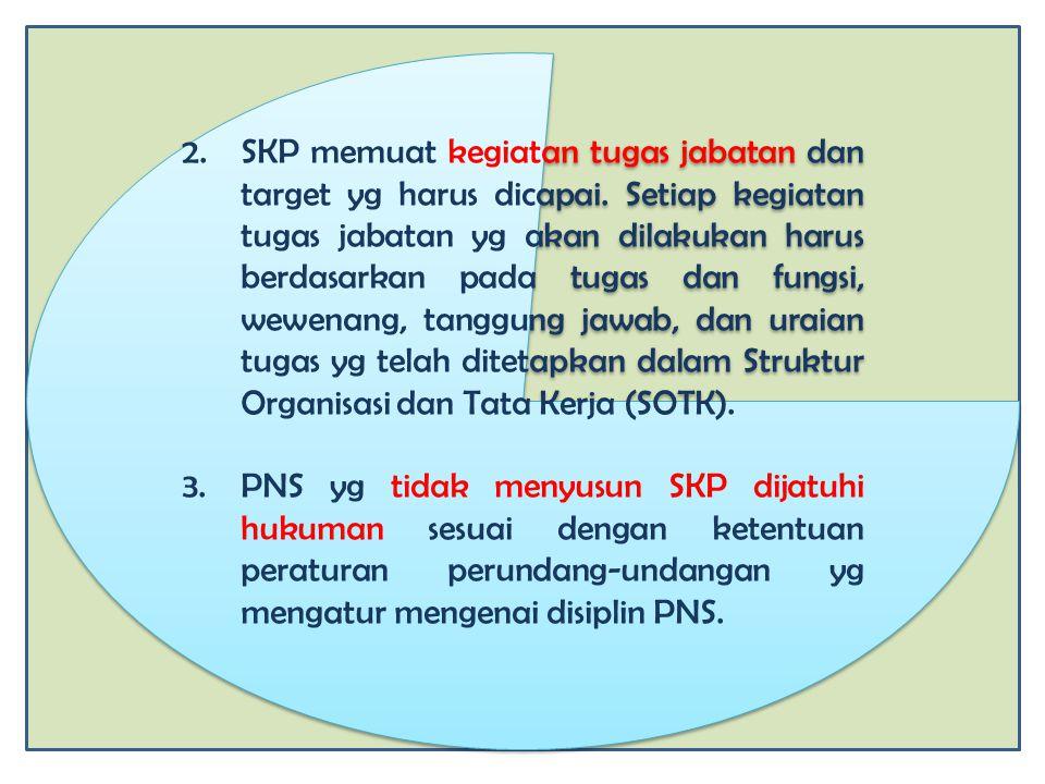 2.SKP memuat kegiatan tugas jabatan dan target yg harus dicapai. Setiap kegiatan tugas jabatan yg akan dilakukan harus berdasarkan pada tugas dan fung