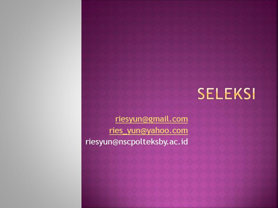  Seleksi merupakan rangkaian tahap-tahap khusus yang digunakan untuk memutuskan pelamar mana yang akan diterima  Proses tersebut dimulai ketika pelamar melamar kerja dan diakhiri dengan keputusan penerimaan  Kegiatan dalam menejemen SDM yang dilakukan setelah proses rekrutmen selesai dilaksanakan.