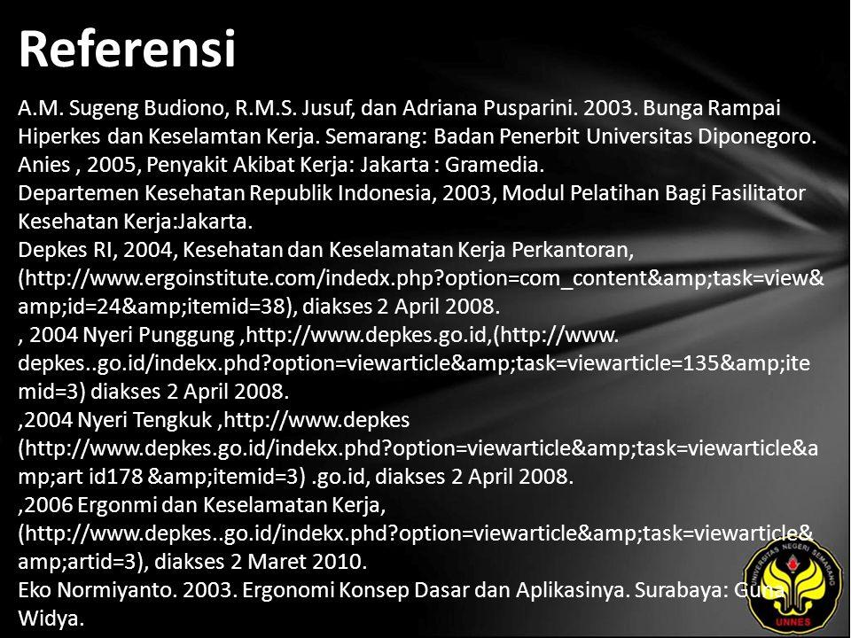 Referensi A.M. Sugeng Budiono, R.M.S. Jusuf, dan Adriana Pusparini. 2003. Bunga Rampai Hiperkes dan Keselamtan Kerja. Semarang: Badan Penerbit Univers