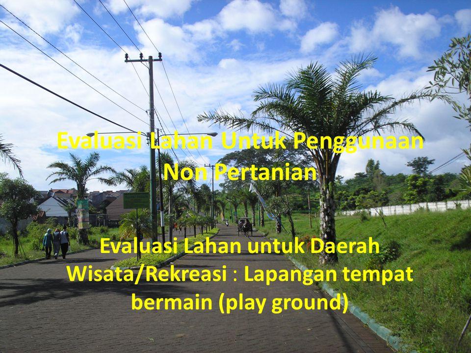 Lapangan tempat bermain (play ground) Tempat bermain dalam hal ini adalah tanah lapang yang dapat digunakan untuk bermain sepakbola, bola voli, badminton, baseball, dan olah raga permainan lainnya.